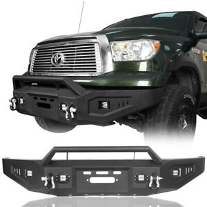 Full Width Front Bumper W Low profile Hoop 4x Lights For 07 13 Toyota Tundra