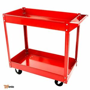 2 tier Metal Utility Service Cart Rolling Storage Shelves Durable Supply On Whee