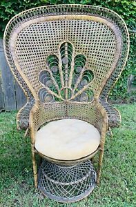 Vintage Bohemian Rattan Wicker Peacock Chair