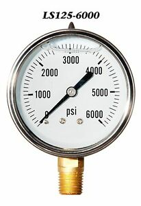 New Hydraulic Liquid Filled Pressure Gauge 0 6000 Psi 2 5 Face 1 4 Lm