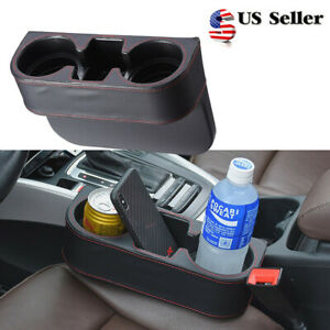 Black 2 Cups Drink Bottle Holder Car Seat Seam Wedge Car Auto Mount Us Stock
