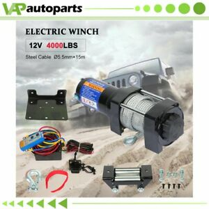 Electric Winch 4000lb Steel Cable 12v Truck Trailer For Toyota New Pcs Us Stock