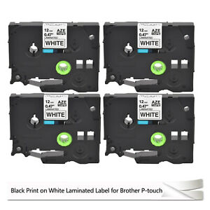 4pk Label Tape For Brother Pt1500 12mm Black On White Tz231 Tze231 Brother Tape