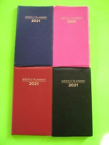 2021 Weekly Small Pocket Planner colors Choice Red Blue Black Pink 6 5x3 75