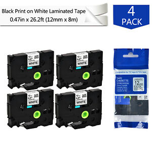 4pk 0 47 Tz 231 Tze231 Black On White Label Tape For Brother P touch Pt 550