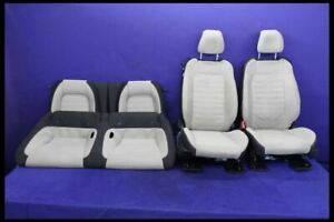 2015 2017 Ford Mustang Gt Tan Beige White Cloth Seat Set Front Rear Coupe