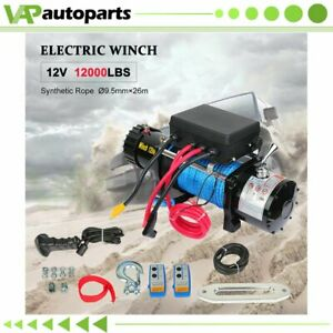 1x Electric Winch 12000lb Synthetic Rope 12v Truck Trailer For Toyota New