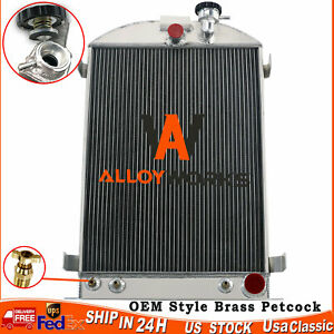 4 Row Aluminum Radiator For 1930 1931 1932 Ford Model A B Series Chevy V8 Engine