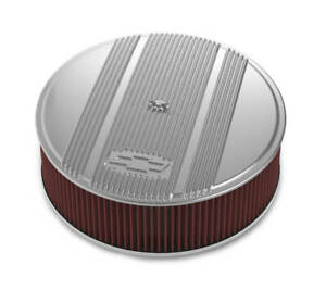 Holley 14 X 4 Finned Air Cleaner Kit Vintage Series Polished Premium Filter
