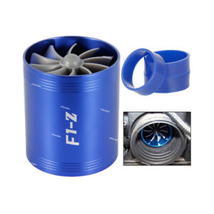 Blue Air Intake Turbonator Dual Fan Turbine Gas Fuel Saver Supercharger Power