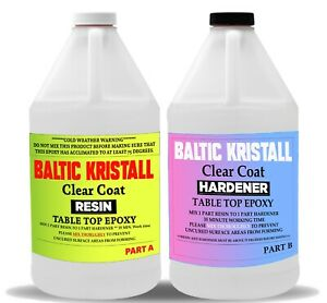 Baltic Kristall Clear Epoxy Resin For Wood Bar Table Top 1 Gallon Kit Uv Protect