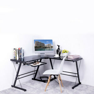 L Shaped Computer Desk Office Furniture Table Workstation Glass Corner Black New