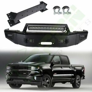Textured Steel Front Bumper For Chevy Silverado 2500 15 17 W Winch Plate Leds