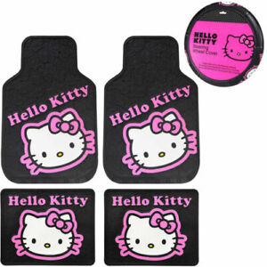 Sanrio Hello Kitty Collage Car Truck Rubber Floor Mats Steering Wheel Cover Set