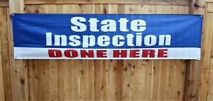 State Inspection Done Here Banner Sign Huge 2x8 Auto Repair Shop Mechanic Car