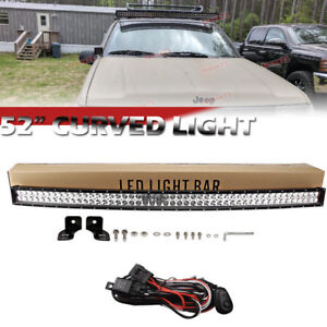 For 99 04 Jeep Grand Cherokee Wj Windshield 52 Inch 300w Curved Led Light Bar