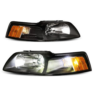 Pair Black Headlights Amber Corner Reflector Lamps For 1999 2004 Ford Mustang