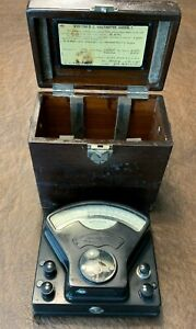Antique Weston Model 1 Number 42062 Dual Scale Direct Current Meter W Box