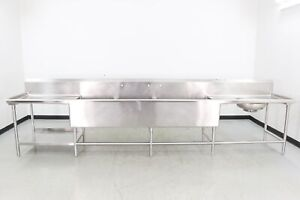 Used Stainless Steel 170 3 Compartment Sink W disposal 560021