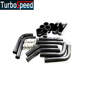 Universal Intercooler Charge Pipe Kit Black Silicones Hose Coupler Ssclamps