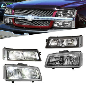 Black Housing Headlights Assembly For 03 06 Chevy Silverado Avalanche 1500 2500
