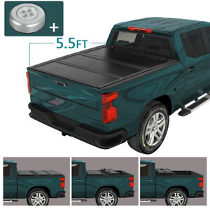 For 07 21 Toyota Tundra 5 5 Ft Bed Hard Solid Tri fold Clamp on Tonneau Cover