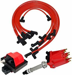 85 99 Chevy Gmc Tbi Distributor 8mm Spark Plug Wires E Core Ignition Coil Set