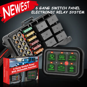 6 Gang Switch Panel Relay Automatic Dimmable Circuit Control Box Car Marine 12v