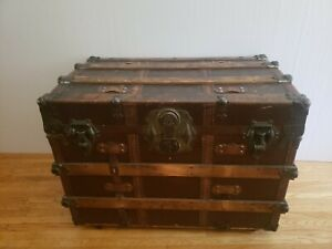Antique Steamer Trunk L S P 33 21 X24 Flat Top Original Condition W Tray
