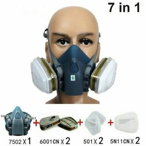 7in1 Half Face Gas Mask Facepiece Spray Painting 7502 Respirator Safety Protect