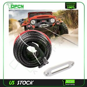 Black Synthetic Winch Cable Rope And Aluminum Hawse Fairlead 15000lbs