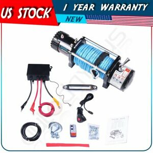 13000lbs Electric Winch 12v Synthetic Rope Towing Truck Offroad 12000lb For Jeep