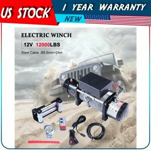 For 2018 2020 Jeep Utility 12v 12000lb Electric Winch Tow Towing Steel Cable