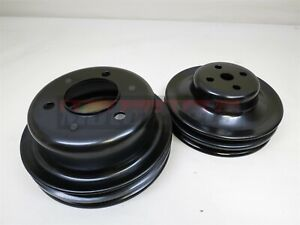 Black Small Block Ford 289 Mustang 2 Groove Water Pump Crankshaft Pulley Sbf Rod