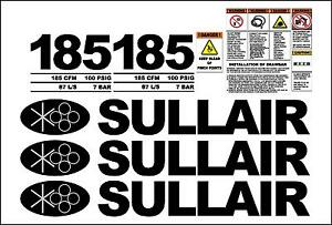 Sullair 185 Decal Kit With Draw Bar And Safety Decals Air Compressor Stickers