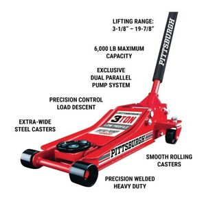 3 Ton Heavy Duty Steel Low Profile Floor Jack Rapid Pump Great For Low riders