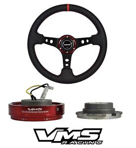 Vms Racing Red Leather 350mm Steering Wheel Quick Release For Mitsubishi