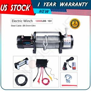 Fit For 2015 17 Jeep Utility 1pcs 12000lb Electric Winch W Remote Steel Cable