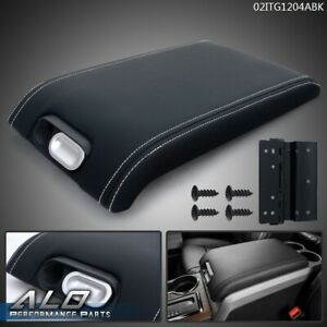 Leather Center Console Arm Rest Lid Cover Black For 2009 2014 Ford F 150 Pickup