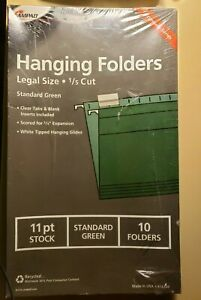 Ampad Hanging Folders 16350 Legal Size 1 5 Cut std green 11 Pt 074319163503