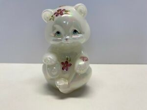 Fenton Opalescent Sitting Bear W Flowers Hearts Hand Painted and Signed
