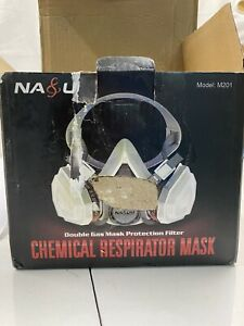 New Open Box Nasum Chemical Respirator Mask W Double Gas Mask Protection Filter