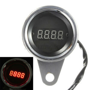 Universal 2 36 Motorcycle Red Led Light Digital Tachometer Tacho Gauge Rpm