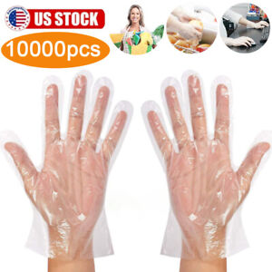 10000pc Poly Gloves Hdpe Clear Plastic Disposable Work Pe Latex Vinyl Free Large