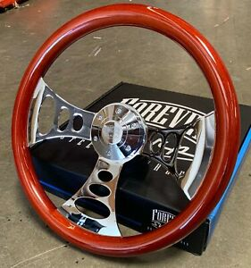 15 Chrome Chopper Steering Wheel With Wood Grip And Polished Billet Horn