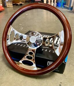 15 Chrome Chopper Steering Wheel Dark Wood Polished Billet Horn Factory 2nd