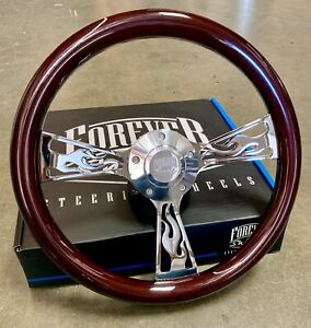 14 Chrome Flame Steering Wheel Dark Wood Grip Chevy C10 Truck Hot Rod 5 Hole