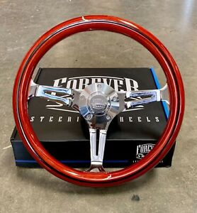 14 Chrome Steering Wheel Light Wood Stripe Chevy C10 Truck Factory 2nd