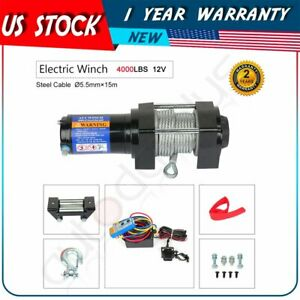 Fit For 2015 17 Jeep Utility 1pcs 4000lb Electric Winch W Remote Steel Cable