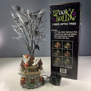 Spooky Hollow 2001 Halloween Fiber Optic Tree Haunted Castle Base with Ghosts
